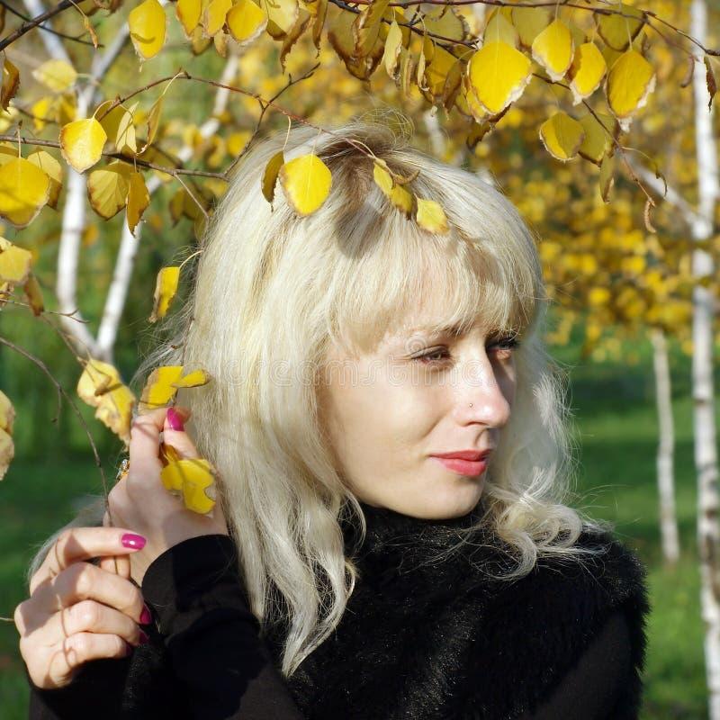 Αρκετά ξανθό πορτρέτο ενάντια στο κίτρινο φύλλωμα φθινοπώρου. στοκ φωτογραφία με δικαίωμα ελεύθερης χρήσης