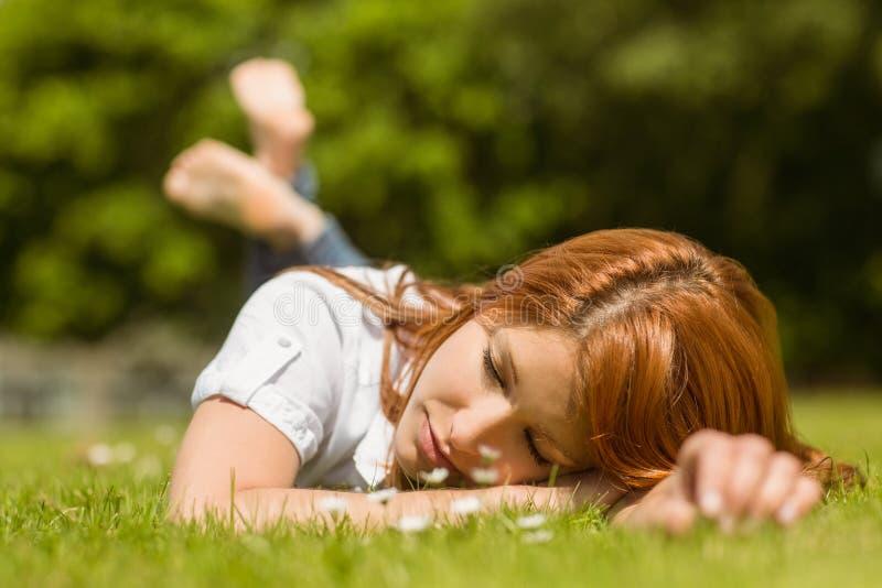 Αρκετά redhead κοιμισμένος στη χλόη στοκ εικόνα