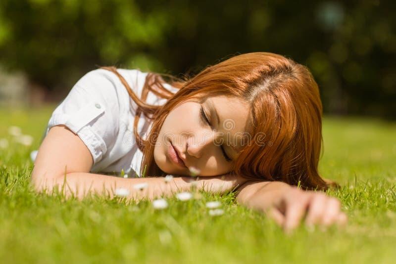 Αρκετά redhead κοιμισμένος στη χλόη στοκ φωτογραφία