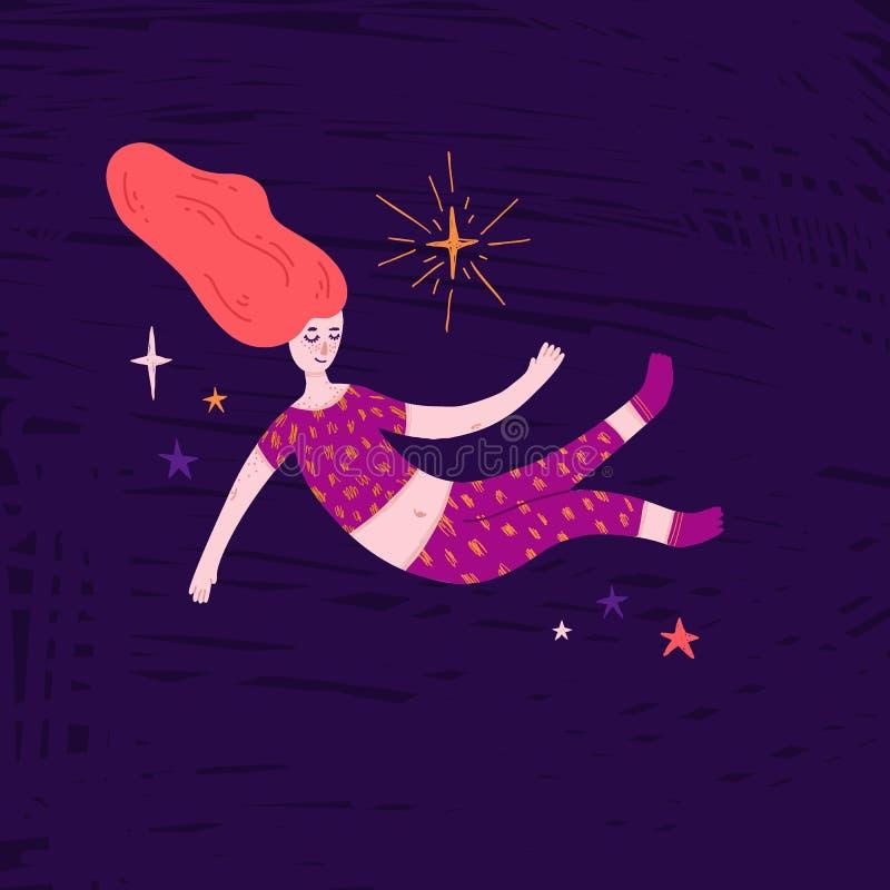 Αρκετά redhead κορίτσι που επιπλέει στο διάστημα Χαριτωμένη hand-drawn απεικόνιση με τη γυναίκα ύπνου στις πυτζάμες και τα αστέρι στοκ φωτογραφίες