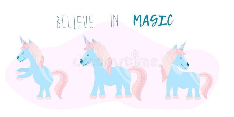 Αρκετοί χαριτωμένος μυθικός μονόκερος με την επιγραφή πιστεύουν σε μαγικό Τυπωμένη ύλη παιδιών σε μια μπλούζα r στοκ φωτογραφία με δικαίωμα ελεύθερης χρήσης