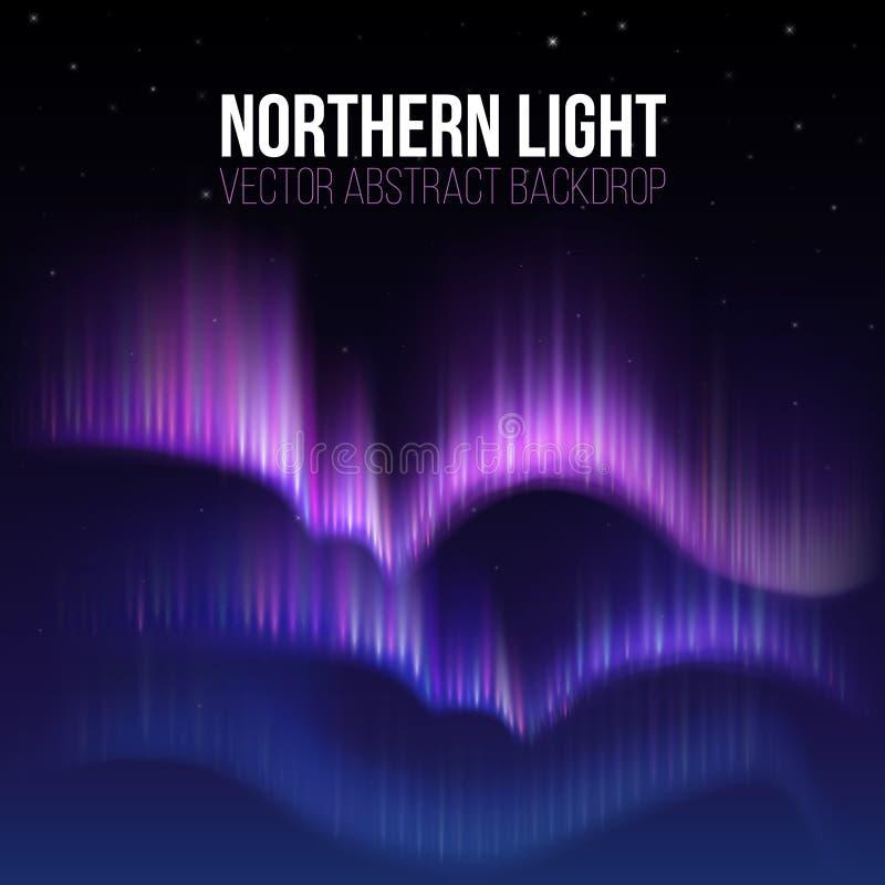 Αρκτική αυγή, βόρεια φω'τα στο διανυσματικό υπόβαθρο της Αλάσκας polaris διανυσματική απεικόνιση