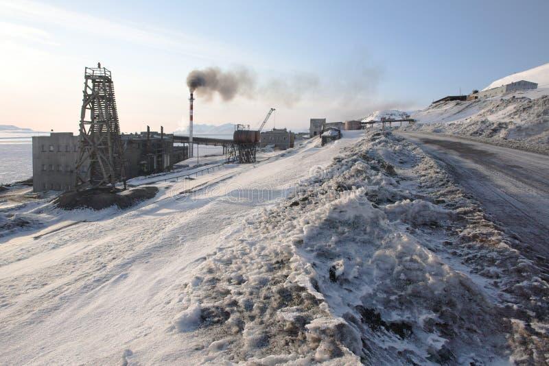 αρκτική πόλη ρωσικά barentsburg στοκ φωτογραφίες