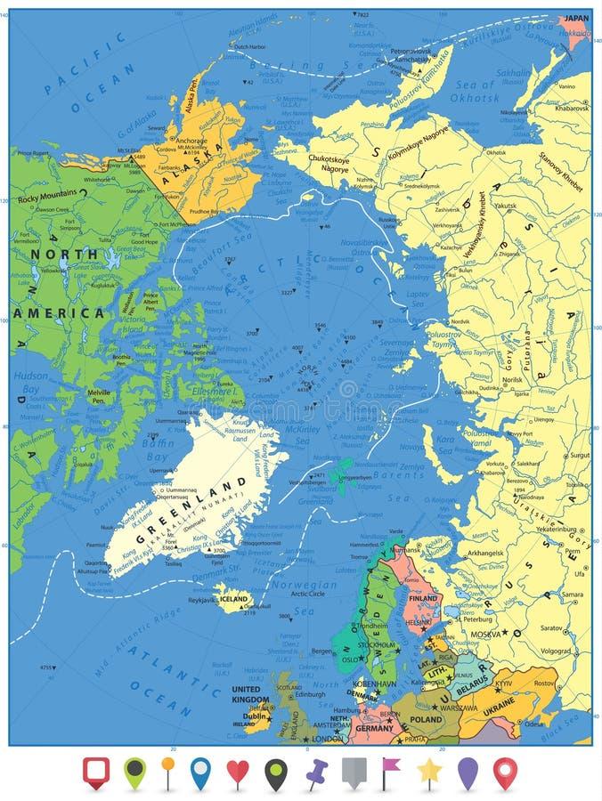 Αρκτικός ωκεάνιος πολιτικός χάρτης και επίπεδοι δείκτες χαρτών διανυσματική απεικόνιση