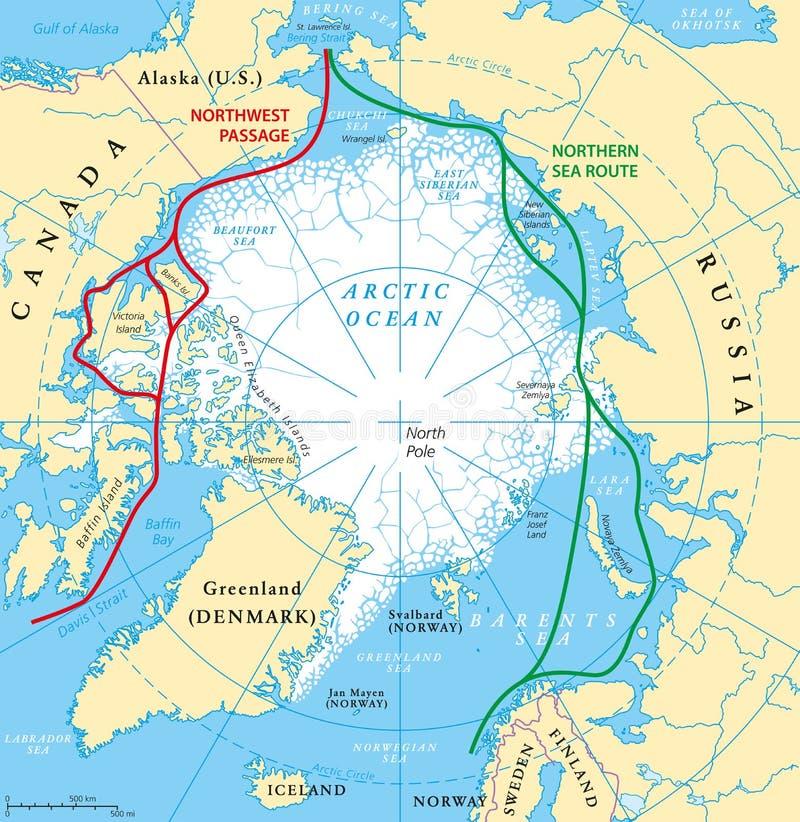 Αρκτικός ωκεάνιος χάρτης διαδρομών θάλασσας απεικόνιση αποθεμάτων
