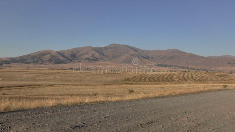 Αρμενία, επαρχία Aragatsotn Χρώματα φθινοπώρου των τομέων κοντά σε Aramoun στοκ εικόνα