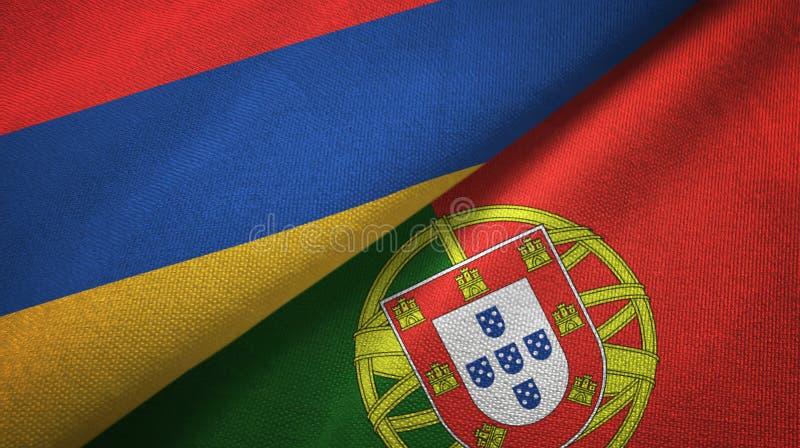 Αρμενία και Πορτογαλία δύο υφαντικό ύφασμα σημαιών, σύσταση υφάσματος απεικόνιση αποθεμάτων