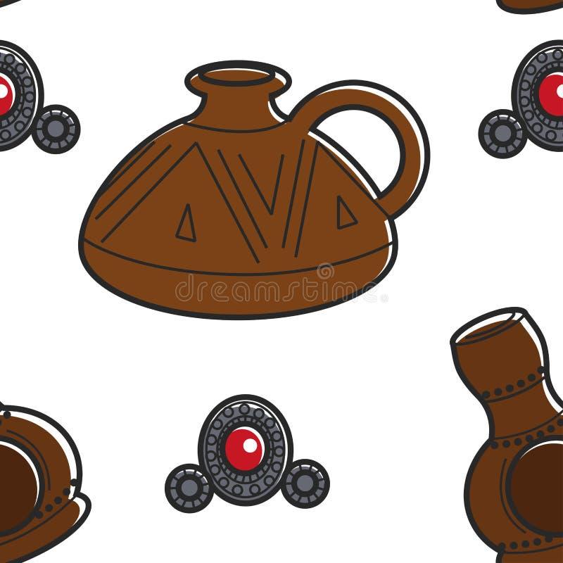 Αρμενική κανάτα αργίλου αγγειοπλαστικής και κοσμήματος και άνευ ραφής σχέδιο πορπών ελεύθερη απεικόνιση δικαιώματος