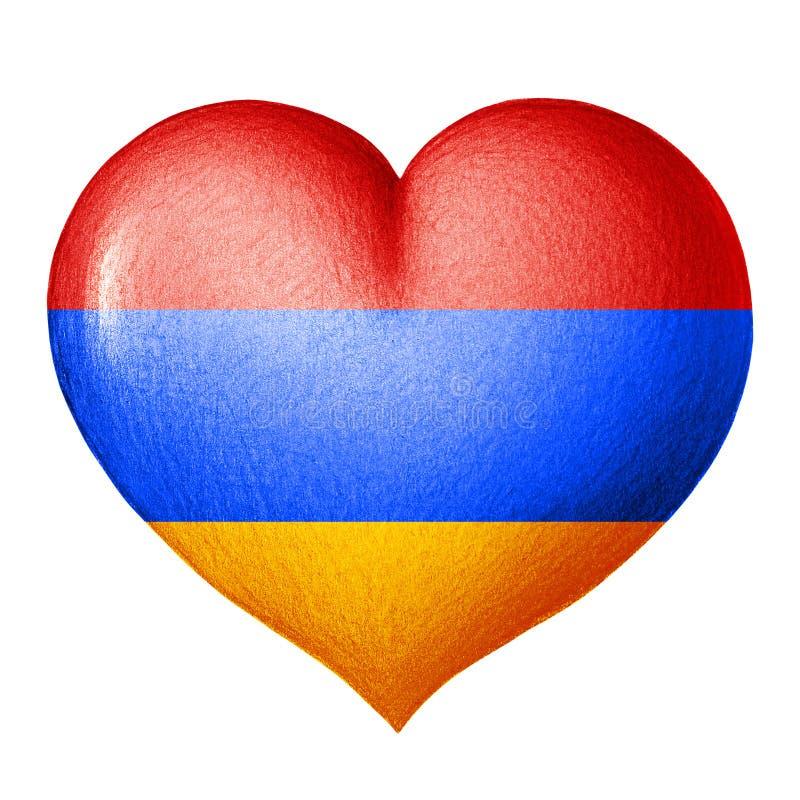 Αρμενική καρδιά σημαιών που απομονώνεται στο άσπρο υπόβαθρο λευκό δέντρων μολυβιών σχεδίων ανασκόπησης διανυσματική απεικόνιση