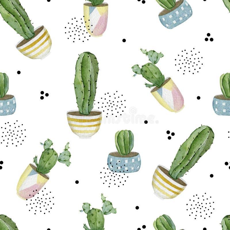 Αρμονικό μοτίβο αποθήκευσης με οικιακά φυτά σε δοχεία Συλλογή αφηρημένων κάκτων για χαρτί περιτυλίγματος, διακόσμηση ταπετσαρίας, απεικόνιση αποθεμάτων