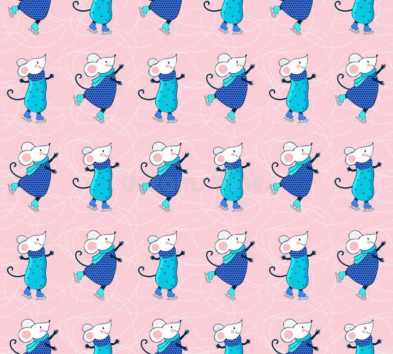 Αρμονικό μοτίβο με κινούμενα σχέδια σε πάγο Χαριτωμένα ποντίκια με χειμερινά σπορ Χριστουγεννιάτικο φόντο Αστείο ζώο που παίζει στοκ φωτογραφία με δικαίωμα ελεύθερης χρήσης