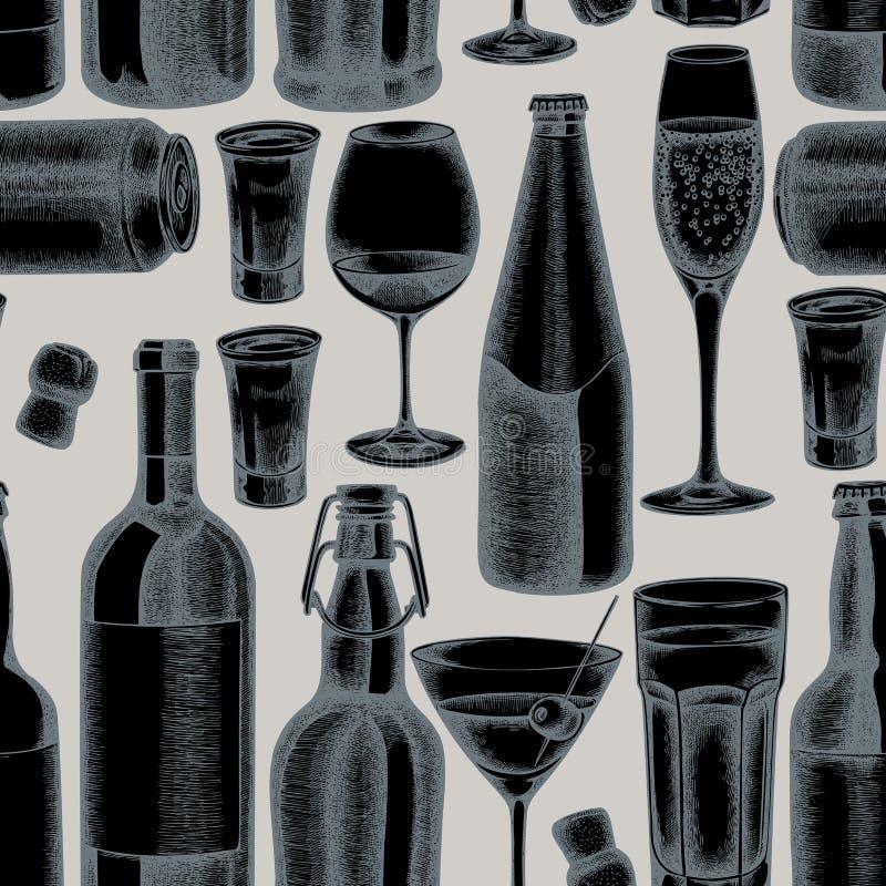 Αρμονικό μοτίβο με κομμένο γυαλί με το χέρι, σαμπάνια, κούπα μπύρα, στιγμιότυπο με οινόπνευμα, μπουκάλια μπύρας, μπουκάλι κρασί ελεύθερη απεικόνιση δικαιώματος