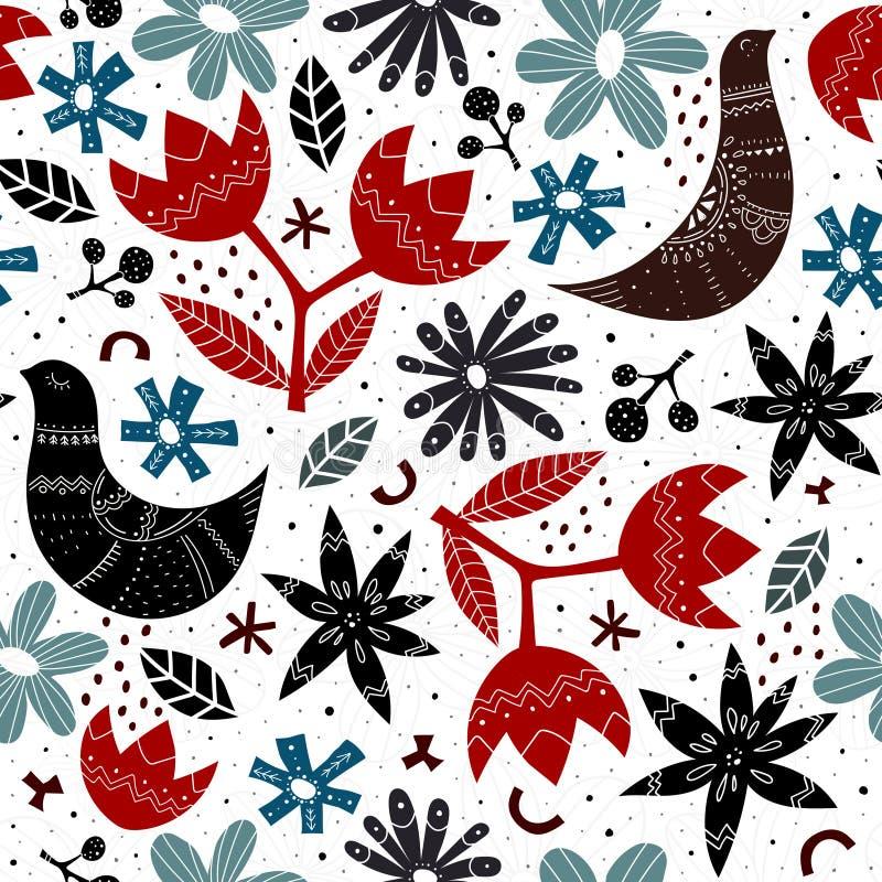Αρμονικό μοτίβο με πολύχρωμα στυλιζαρισμένα πουλιά, λουλούδια, διακοσμητικά στοιχεία διάνυσμα Σκανδιναβικό στυλ λαϊκό στολίδι σχέ διανυσματική απεικόνιση