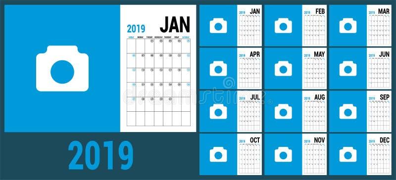 Αρμόδιος για το σχεδιασμό 2019 Αγγλικό ημερολογιακό πρότυπο Διανυσματικό ημερολογιακό πλέγμα Ο ελεύθερη απεικόνιση δικαιώματος