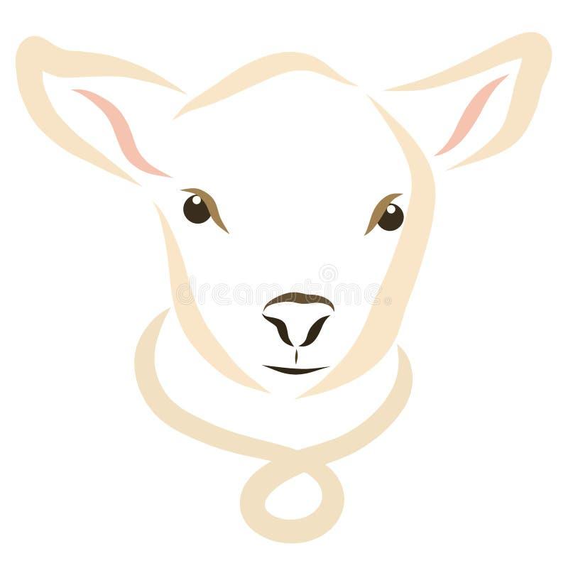 Αρνί ή μόσχος, κεφάλι, κατοικίδιο ζώο απεικόνιση αποθεμάτων