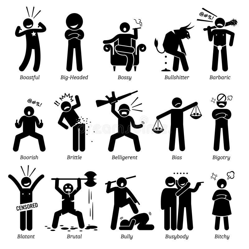 Αρνητικά γνωρίσματα Clipart χαρακτήρα προσωπικοτήτων διανυσματική απεικόνιση