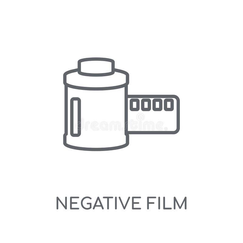 Αρνητικό γραμμικό εικονίδιο ταινιών Σύγχρονο λογότυπο ταινιών περιλήψεων αρνητικό con απεικόνιση αποθεμάτων