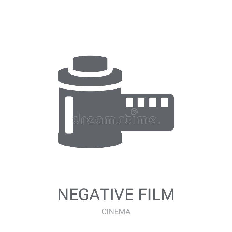 Αρνητικό εικονίδιο ταινιών Καθιερώνουσα τη μόδα αρνητική έννοια λογότυπων ταινιών στο άσπρο β ελεύθερη απεικόνιση δικαιώματος
