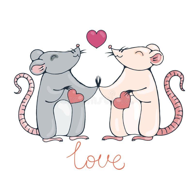 Αρουραίοι ερωτευμένοι διανυσματική απεικόνιση