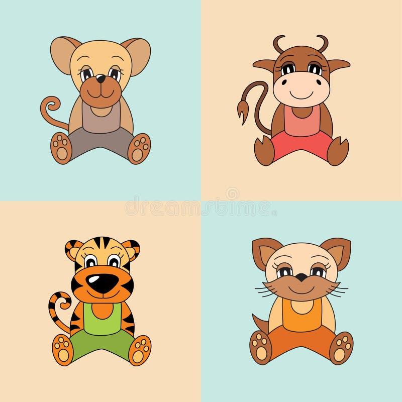 Αρουραίος, βόδι, τίγρη, γάτα, σύμβολα του κινεζικού ωροσκοπίου 2020, 2021 διανυσματική απεικόνιση
