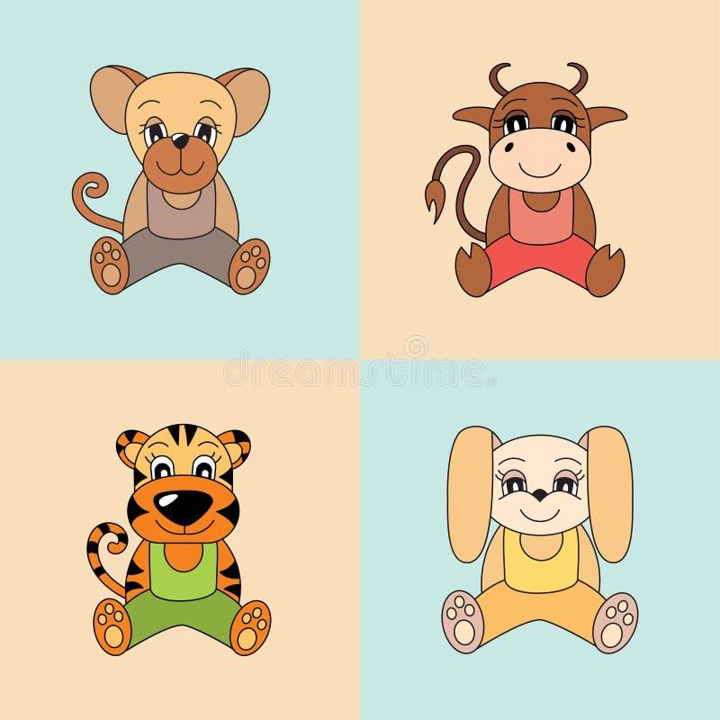 Αρουραίος, βόδι, τίγρη, κουνέλι, σύμβολα του κινεζικού ωροσκοπίου 2020 απεικόνιση αποθεμάτων