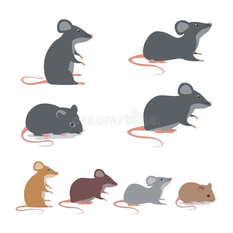 Αρουραίος - συλλογή ποντικιών με τη χαριτωμένη και καλή απεικόνιση κινούμενων σχεδίων ελεύθερη απεικόνιση δικαιώματος