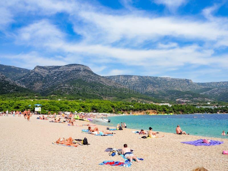 Αρουραίος Zlatni, η παραλία famus στο νησί Brac, Κροατία στοκ εικόνα