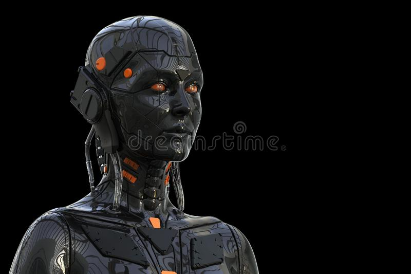 Αρρενωπή γυναίκα Humanoid ρομπότ - που απομονώνεται στο μαύρο υπόβαθρο ελεύθερη απεικόνιση δικαιώματος
