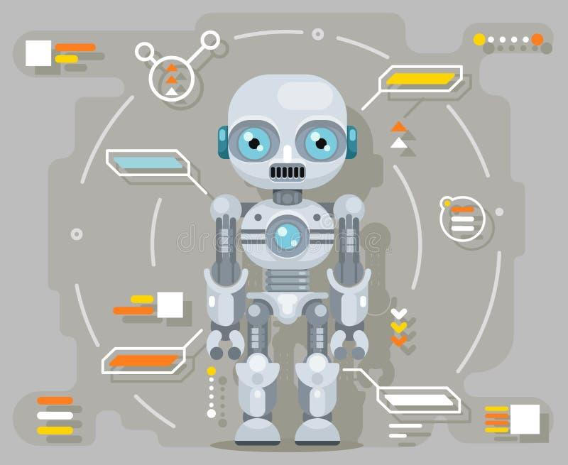 Αρρενωπή ρομπότ τεχνητής νοημοσύνης φουτουριστική πληροφοριών διανυσματική απεικόνιση σχεδίου διεπαφών επίπεδη διανυσματική απεικόνιση