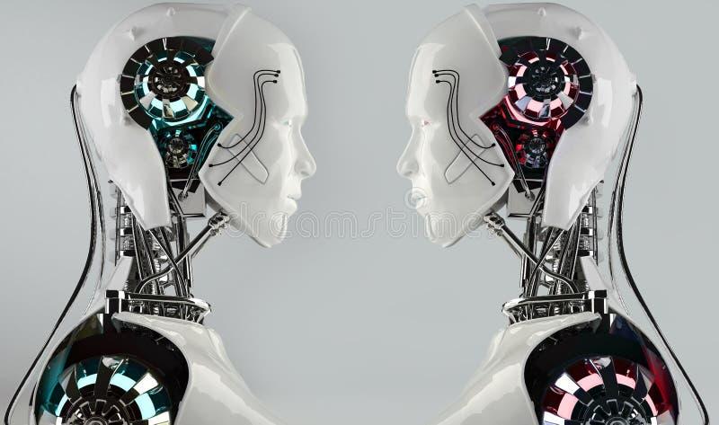 Αρρενωπός ανταγωνισμός ατόμων ρομπότ διανυσματική απεικόνιση