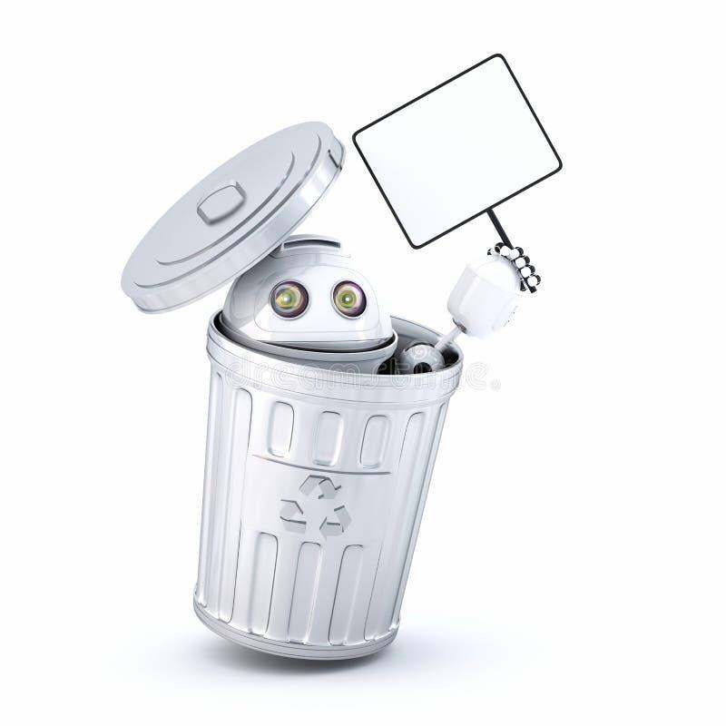 Αρρενωπό ανακύκλωσης δοχείο εσωτερικών ρομπότ στοκ εικόνα με δικαίωμα ελεύθερης χρήσης