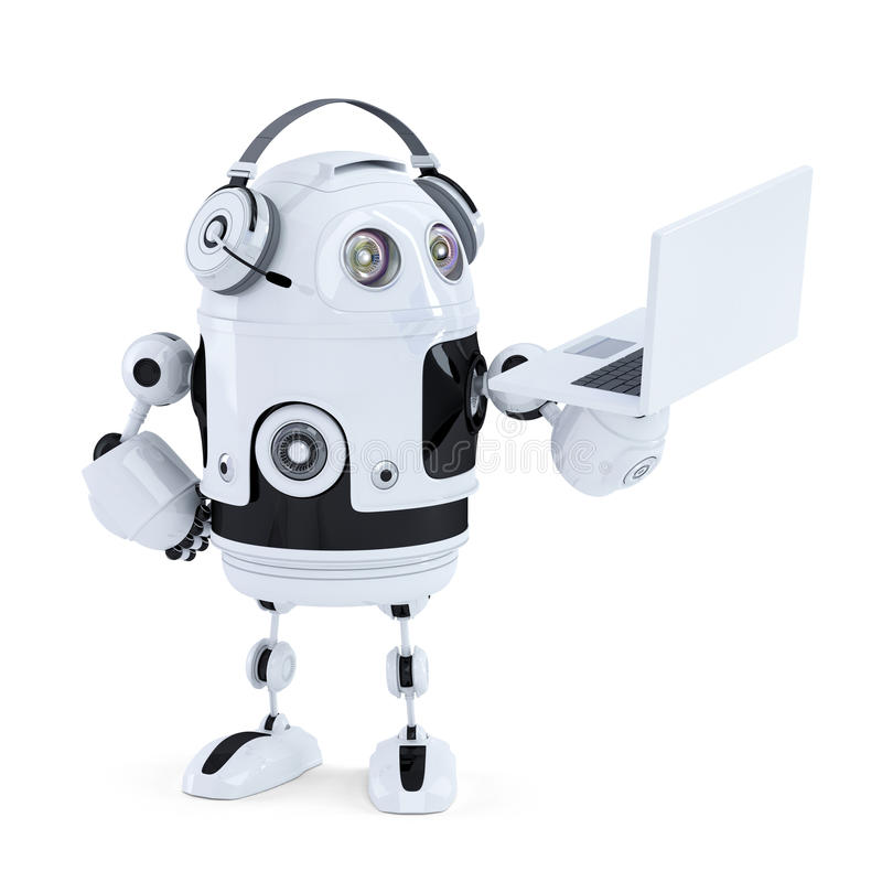 Αρρενωπό ρομπότ με τα ακουστικά και το lap-top απομονωμένος Περιέχει το μονοπάτι ψαλιδίσματος απεικόνιση αποθεμάτων