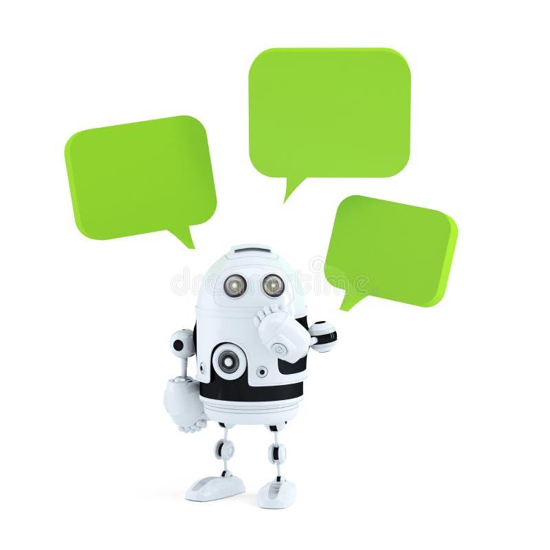 Αρρενωπό ρομπότ με τις φυσαλίδες συνομιλίας. απεικόνιση αποθεμάτων