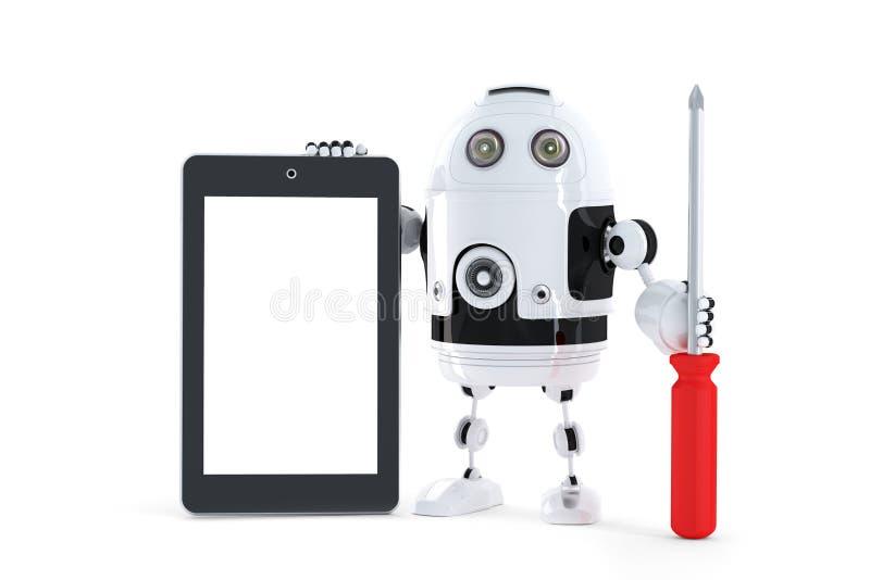 Αρρενωπό ρομπότ με τον υπολογιστή ταμπλετών στοκ εικόνες