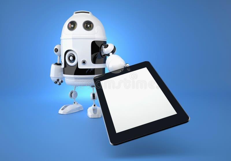 Αρρενωπό ρομπότ με το touchpad στο μπλε υπόβαθρο στοκ φωτογραφία με δικαίωμα ελεύθερης χρήσης