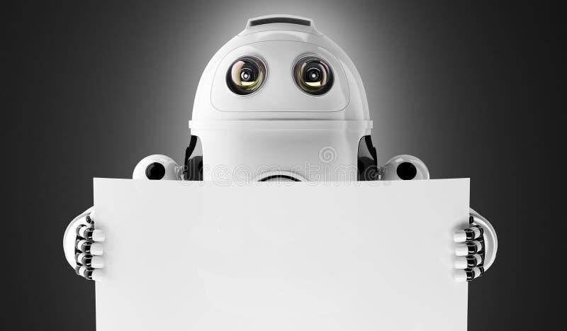 Αρρενωπό ρομπότ που κρατά έναν κενό πίνακα στοκ εικόνα