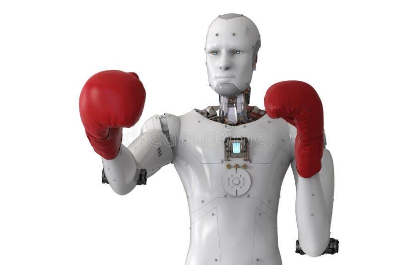 Αρρενωπό ρομπότ που φορά τα κόκκινα εγκιβωτίζοντας γάντια στοκ εικόνες