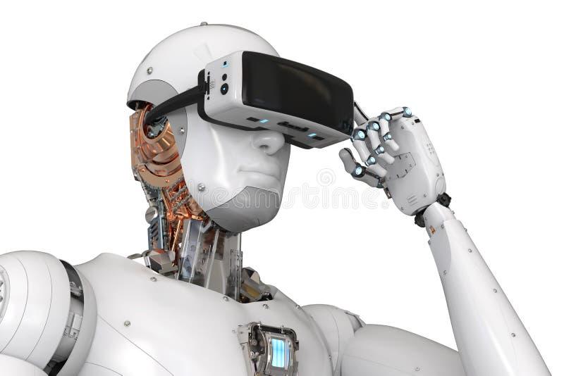 Αρρενωπό ρομπότ που φορά vr την κάσκα διανυσματική απεικόνιση