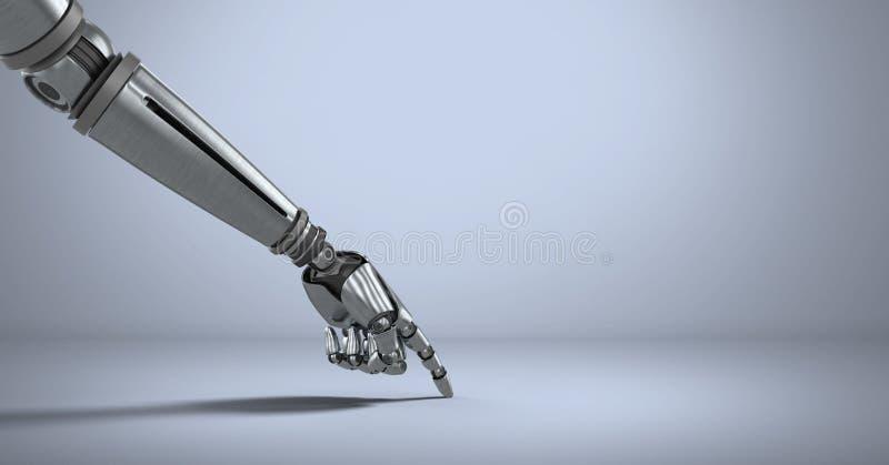 Αρρενωπό χέρι ρομπότ που δείχνει με το πορφυρό υπόβαθρο διανυσματική απεικόνιση