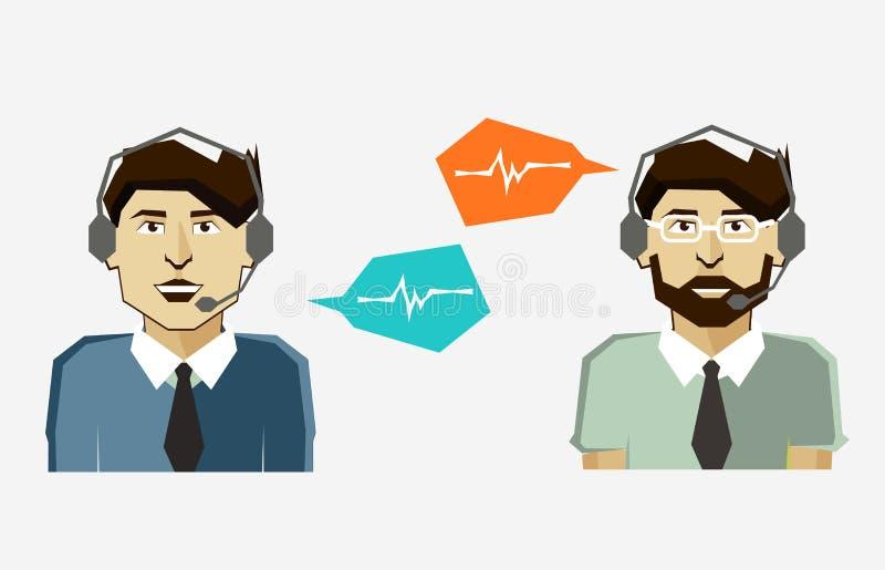 Αρσενικά εικονίδια ειδώλων τηλεφωνικών κέντρων με τις λεκτικές φυσαλίδες ελεύθερη απεικόνιση δικαιώματος