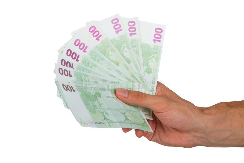 Αρσενικά ευρο- τραπεζογραμμάτια εκμετάλλευσης χεριών στοκ φωτογραφία