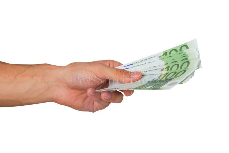 Αρσενικά ευρο- τραπεζογραμμάτια εκμετάλλευσης χεριών στοκ φωτογραφίες