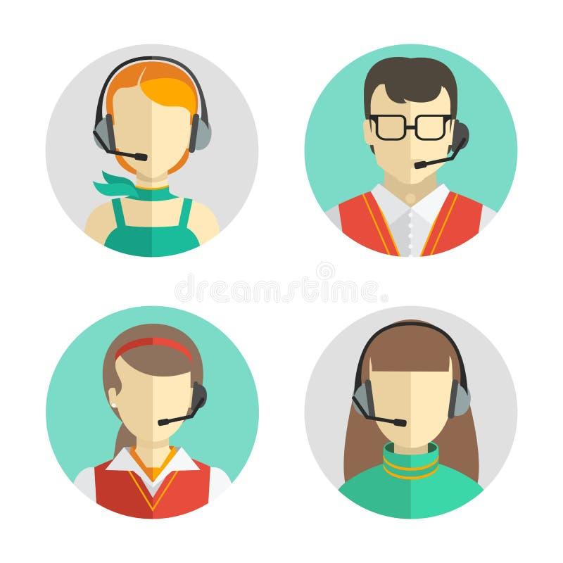 Αρσενικά και θηλυκά είδωλα τηλεφωνικών κέντρων σε ένα επίπεδο ύφος με μια κάσκα, εννοιολογική της επικοινωνίας τα εικονογράμματα  ελεύθερη απεικόνιση δικαιώματος