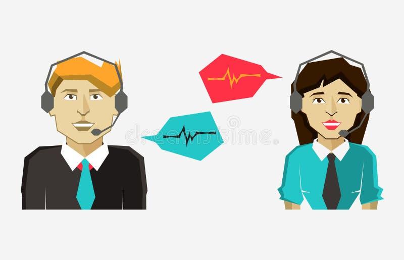 Αρσενικά και θηλυκά εικονίδια ειδώλων τηλεφωνικών κέντρων με τις λεκτικές φυσαλίδες διανυσματική απεικόνιση