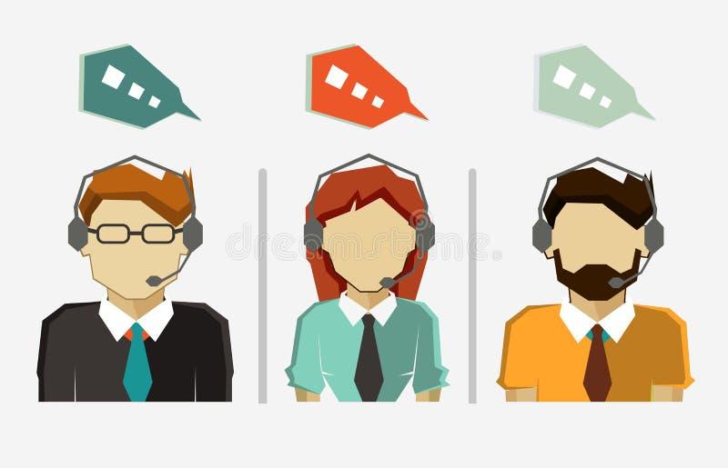 Αρσενικά και θηλυκά εικονίδια ειδώλων τηλεφωνικών κέντρων με τις λεκτικές φυσαλίδες ελεύθερη απεικόνιση δικαιώματος