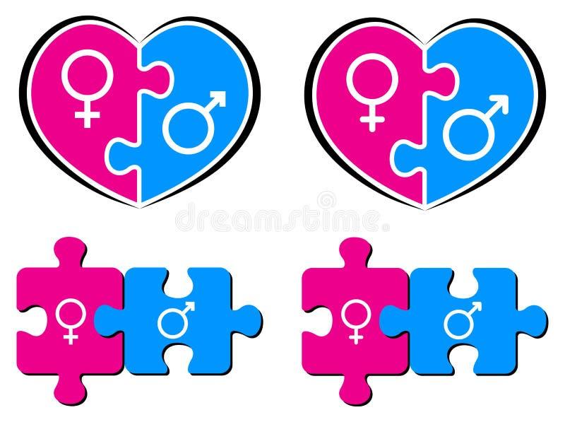 Αρσενικά και θηλυκά σύμβολα διανυσματική απεικόνιση