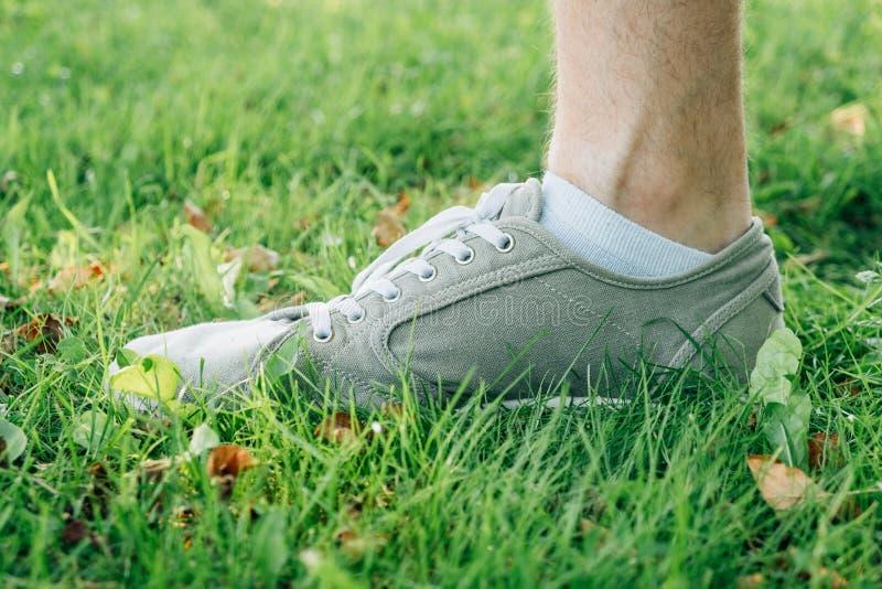 Αρσενικά πόδια στα γκρίζα gumshoes στη χλόη στοκ φωτογραφίες με δικαίωμα ελεύθερης χρήσης