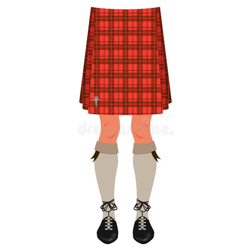 Αρσενικά πόδια στη σκωτσέζικη φούστα διανυσματική απεικόνιση