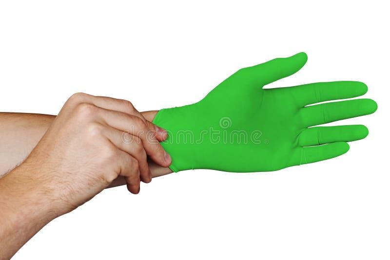 Αρσενικά χέρια που βάζουν στα πράσινα ιατρικά γάντια που απομονώνονται στο άσπρο υπόβαθρο στοκ φωτογραφία με δικαίωμα ελεύθερης χρήσης