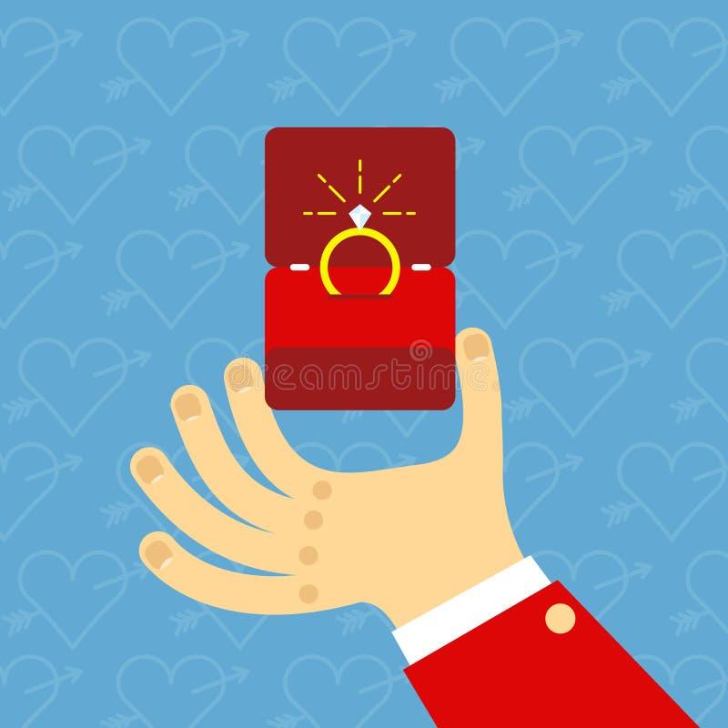 Αρσενικά χέρια που κρατούν το δαχτυλίδι αρραβώνων στο επίπεδο ύφος Για το βαλεντίνο απεικόνιση αποθεμάτων